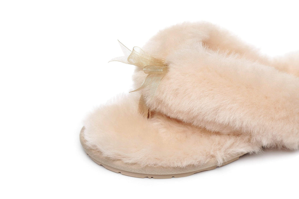 Slippers - AS UGG Women Fluffy Slides Thongs Cinderella
