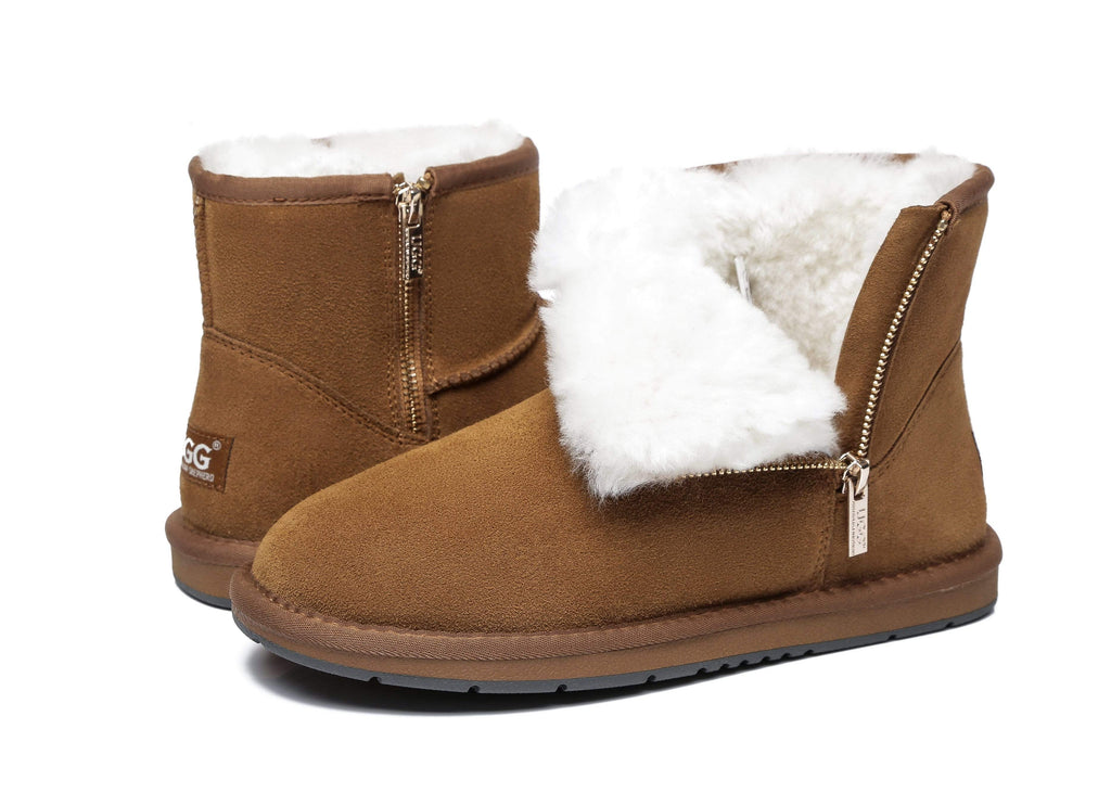 UGG Boots - AS Sheepskin Wool Mini Side Zipper Ugg Boots