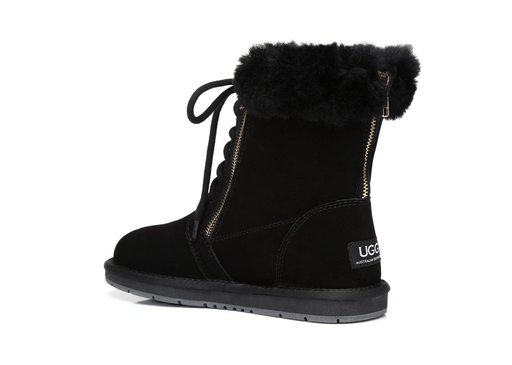 UGG Boots - AS UGG Front Lace Zip Ladies Short Boots #15565 (1761003896890)