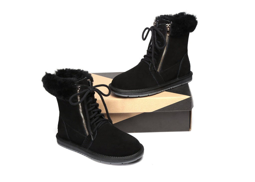 UGG Boots - AS UGG Front Lace Zip Ladies Short Boots #15565