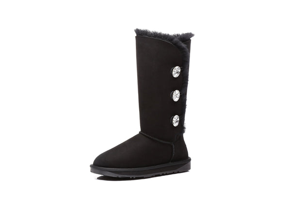 UGG Boots - AS UGG Tall Triple Button Boots With Crystal #11951- Clearance Sale