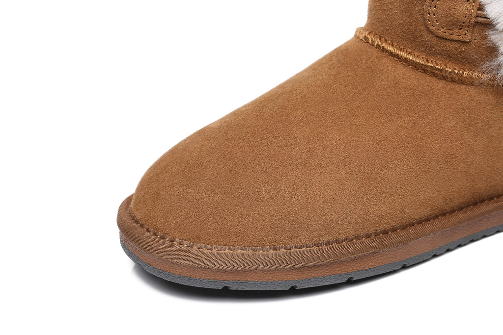 UGG Boots - AS UGG Women Short Boots Talia Twin Face Sheepskin Double Horn Toggle Closure