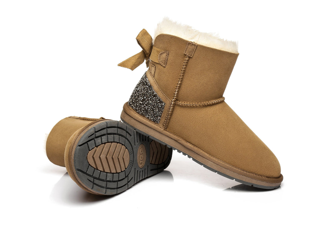Australian Shepherd Womens Mini Back Bow UGG Boots Catherin