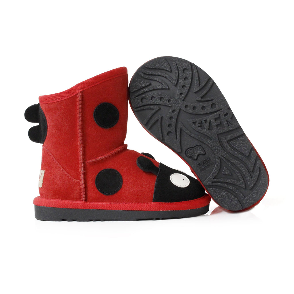 UGG Boots - Ever UGG Kids Ladybug Boots In Red #11538 (36513808403)