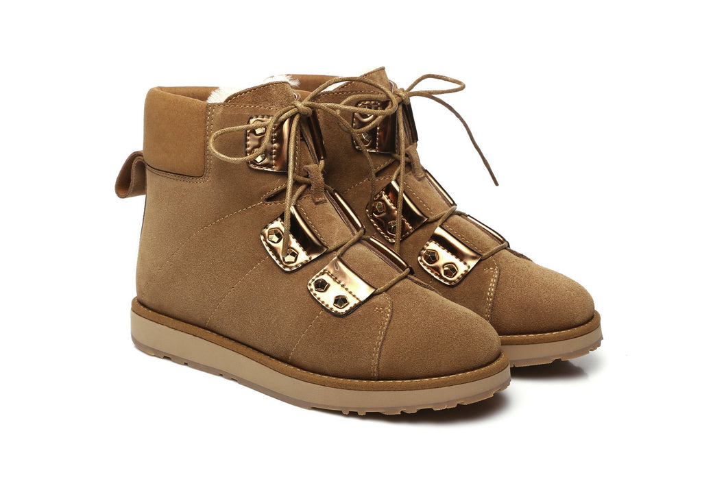 Ever UGG Lace up fashion boots Croissant #11574 (2019884597306)