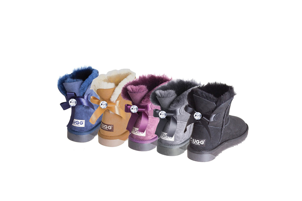 Ever UGG Ladies Bailey Bow Mini Classic Boots with Crystal #11738