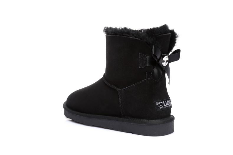 UGG Boots - Ever UGG Ladies Bailey Bow Mini Classic Boots With Crystal #11738 (38245433363)