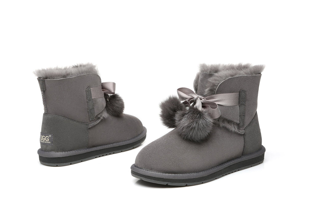 UGG Boots - Ever UGG Ladies Mini Boots With Ribbon Pom Pom Gia #15664 (532865253434)