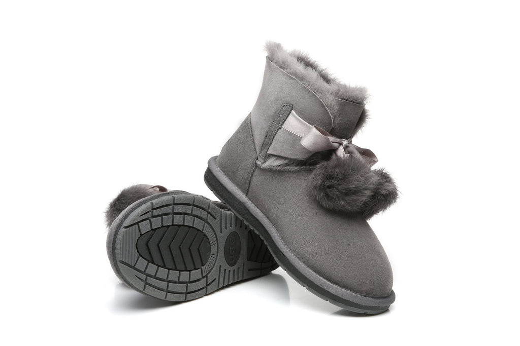 UGG Boots - Ever UGG Ladies Mini Boots With Ribbon Pom Pom Gia #15664