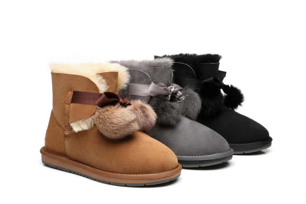 b7ccf22eeb6 Ever UGG Ladies Mini Boots with Ribbon Pom Pom Gia #15664