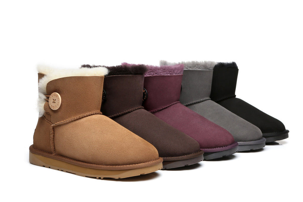 EVER UGG Mini Button Australia Premium Twin-face Sheepskin Water Resistant Boots #11702 (1787803172922)