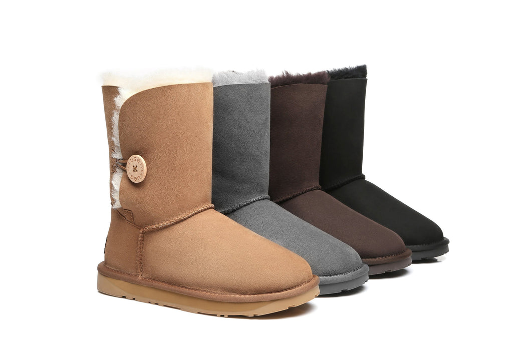 EVER UGG Short Button Australia Premium Double Face Sheepskin Water Resistant Boots #11802