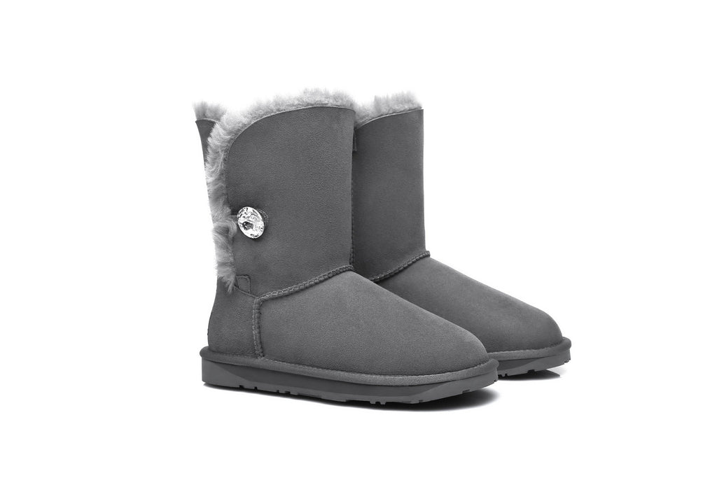 UGG Boots - Ever UGG Short Button Boots With Crystal #11851 (92436496403)