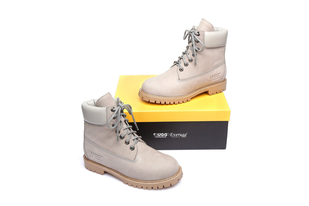UGG Boots - UGG As*Noah Unisex Nu-buck Leather Boots Formal Work Causal Lace-up Shoes, Sheepskin Lining