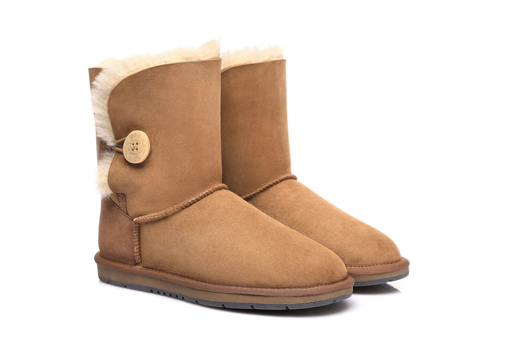 AS UGG Boots Australia Premium Double Face Sheepskin Short Button,Water Resistant  #15802