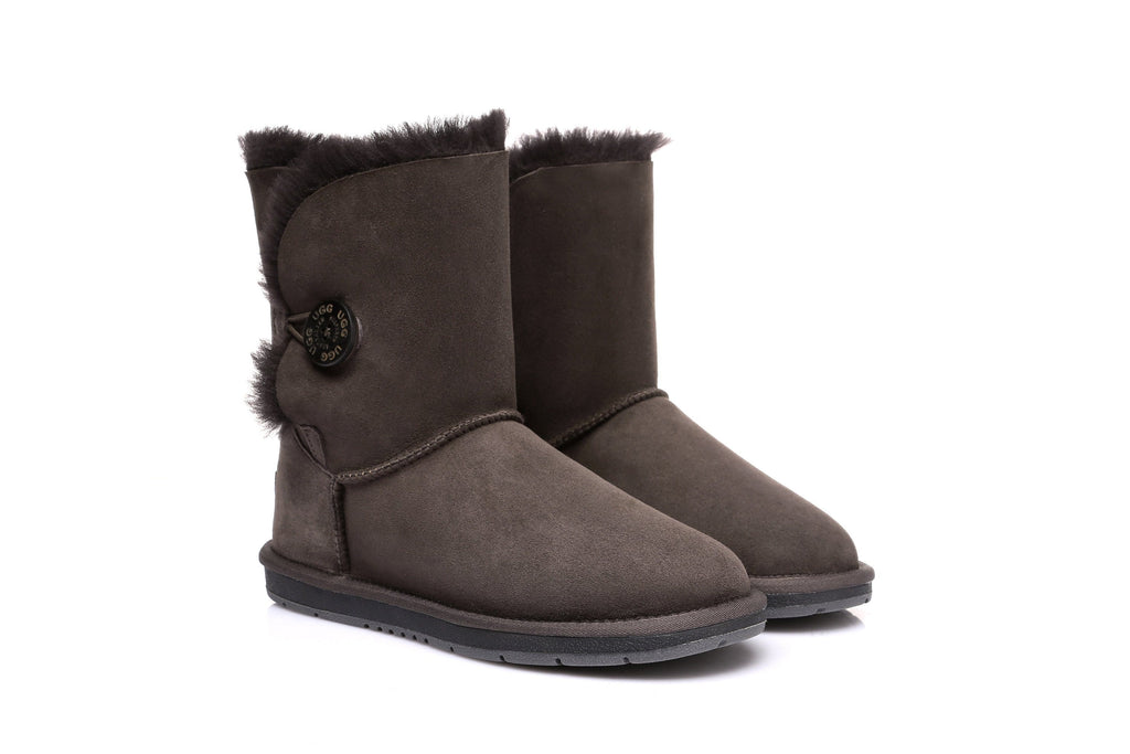 AS UGG Boots Australia Premium Double Face Sheepskin Short Button,Water Resistant  #15802 (7188435655)