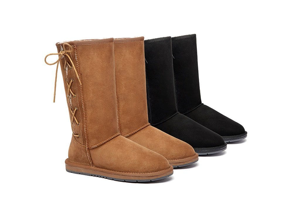 UGG Boots Australia Premium Double Face Sheepskin Tall Side Lace Up,Water Resistant #15983