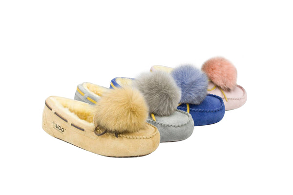 pom poms on moccasin slippers
