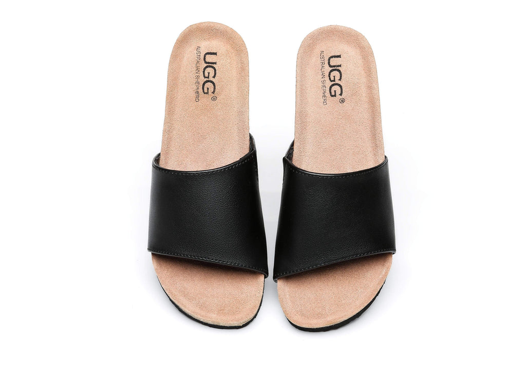 UGG Boots - Women Sandals Megan Platform Leather Wedge Slides