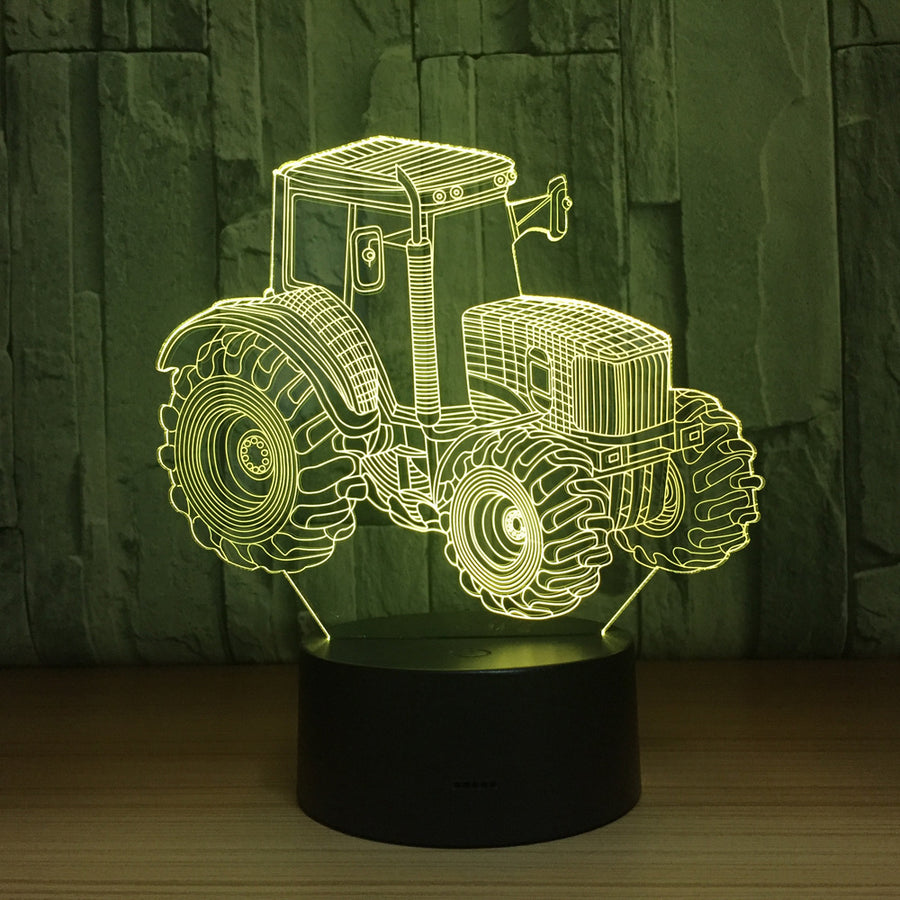 Tractor 3D Illusion Lamp LED Night Light Acrylic 7 Color