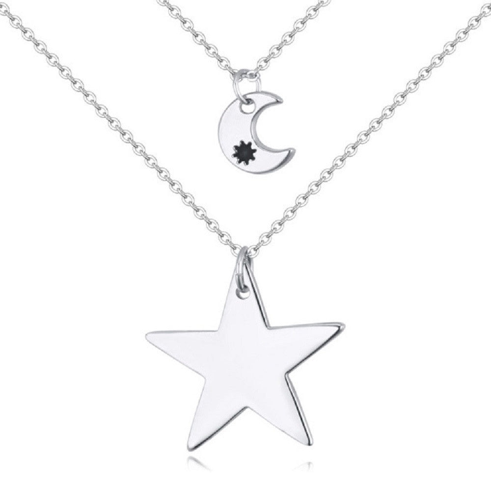 18K White Gold Women\'s Fashion Doublelayer chains with Star and ...