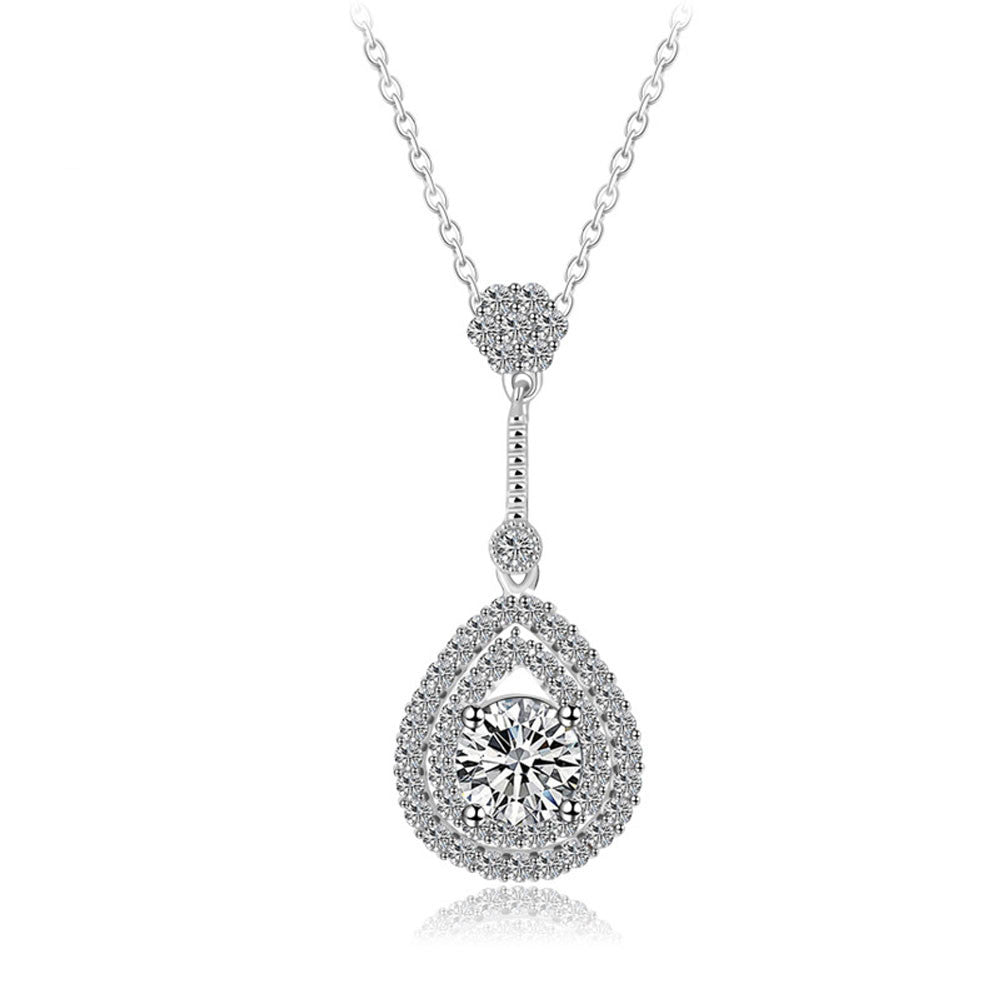18k white gold womens cz crystal teardrop wedding pendant necklace aloadofball Image collections
