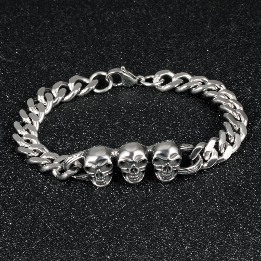 Bishilin Stainless Steel Mens Bracelets Cuff Bangle Rope Braided Leather Black Silver