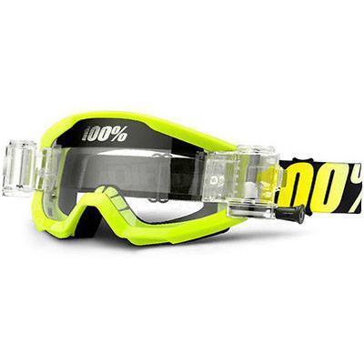 100% Motocross Goggles 100% Strata MX Motocross Enduro Mud Goggles - Neon Yellow SVS Clear Lens