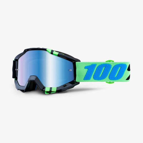 100% Motocross Goggles 2018 100% Accuri MX Motocross Goggles - Zerg - Mirror Blue Lens + Clear Lens