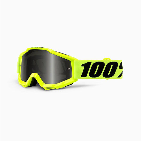 100% Motocross Goggles 2018 100% Accuri Sand Motocross Goggles - Fluo Yellow - Grey Lens + Clear Lens