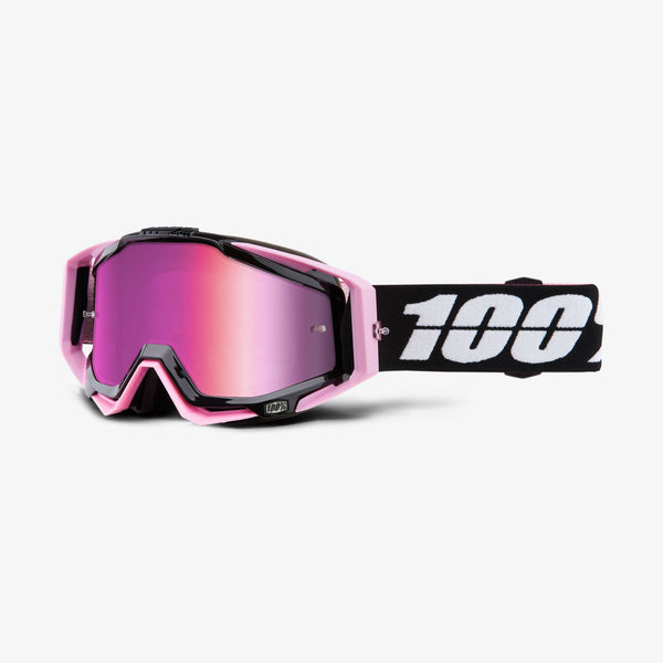 100% Motocross Goggles 2018 100% Racecraft MX Motocross Goggles - Floyd - Mirror Pink Lens + Clear Lens
