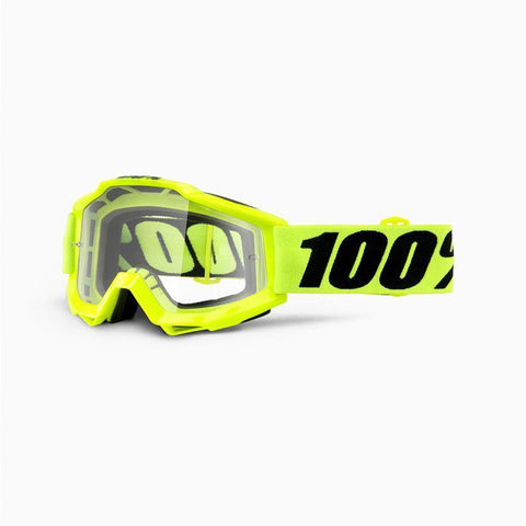 100% Youth Motocross Goggles 2018 100% Accuri MX YOUTH Motocross Goggles - Fluo Yellow - Clear Lens
