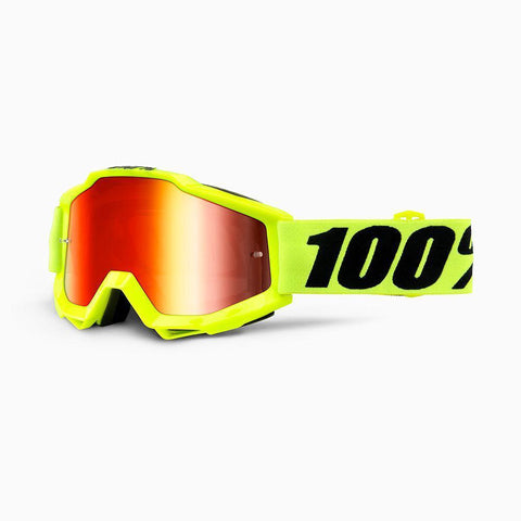 100% Youth Motocross Goggles 2018 100% Accuri MX YOUTH Motocross Goggles - Fluo Yellow - Mirror Red Lens