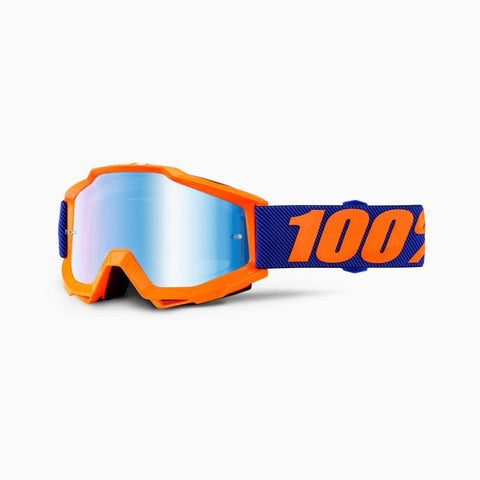 100% Youth Motocross Goggles 2018 100% Accuri MX YOUTH Motocross Goggles - Origami - Mirror Blue Lens