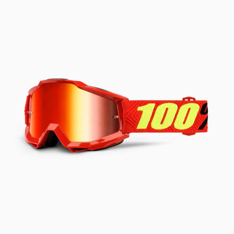 100% Youth Motocross Goggles 2018 100% Accuri MX YOUTH Motocross Goggles - Saarinen - Mirror Red Lens