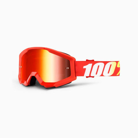 100% Youth Motocross Goggles 2018 100% Strata MX YOUTH Motocross Goggles - Furnace - Mirror Red Lens
