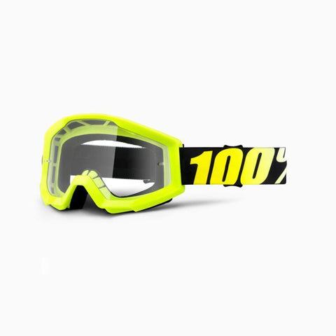 100% Youth Motocross Goggles 2018 100% Strata MX YOUTH Motocross Goggles - Neon Yellow - Clear Lens