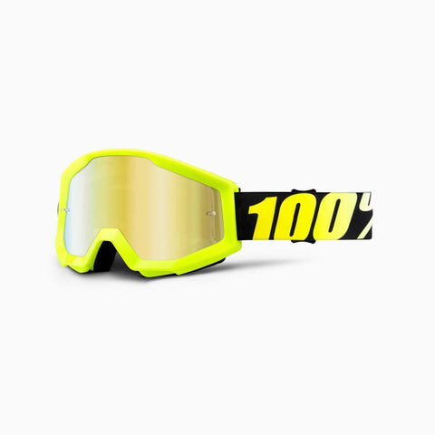 100% Youth Motocross Goggles 2018 100% Strata MX YOUTH Motocross Goggles - Neon Yellow - Mirror Gold Lens