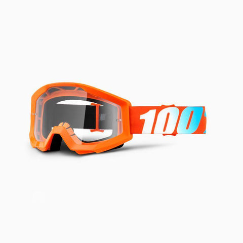 100% Youth Motocross Goggles 2018 100% Strata MX YOUTH Motocross Goggles - Orange - Clear Lens