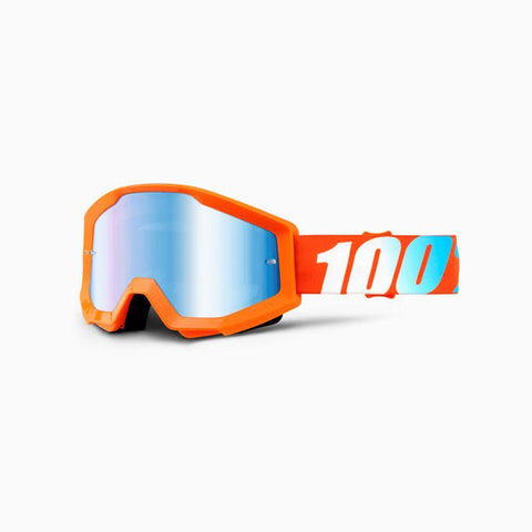 100% Youth Motocross Goggles 2018 100% Strata MX YOUTH Motocross Goggles - Orange Origami - Mirror Blue Lens