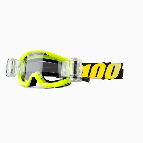 100% Youth Motocross Goggles 2018 100% Strata MX YOUTH Motocross Mud Goggles - Neon Yellow - SVS Clear Lens
