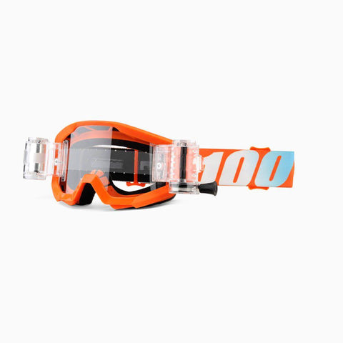 100% Youth Motocross Goggles 2018 100% Strata MX YOUTH Motocross Mud Goggles - Orange - SVS Clear Lens