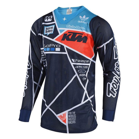 2018 Motocross Gear 2018 Troy Lee SE AIR 18.1 Metric MX Motocross Jersey - Navy / Orange