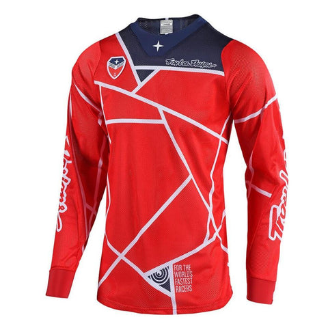 2018 Motocross Gear 2018 Troy Lee SE AIR 18.1 Metric MX Motocross Jersey - Red / Navy