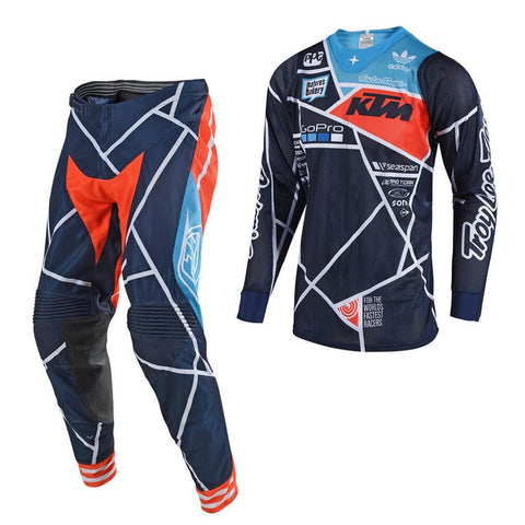 2018 Motocross Gear 2018 Troy Lee SE AIR 18.1 Metric MX Motocross Kit Combo - Navy / Orange