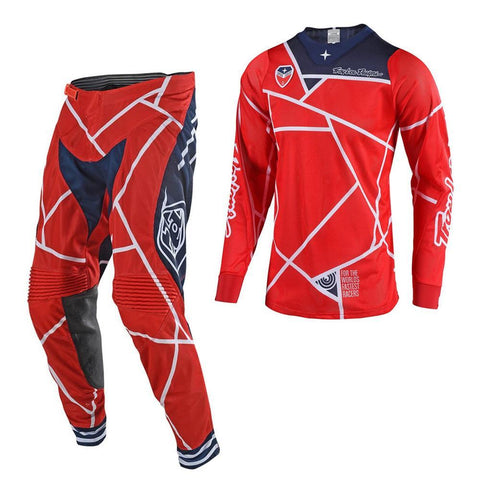 2018 Motocross Gear 2018 Troy Lee SE AIR 18.1 Metric MX Motocross Kit Combo - Red / Navy