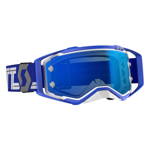 Scott Prospect Motocross Goggles - White Blue Blue Chrome