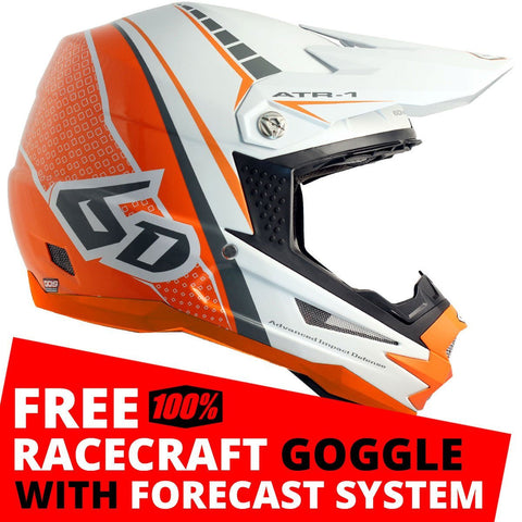 6D Motocross Helmets S - 55-56cm 2018 6D ATR-1 Edge Motocross MX Helmet - Neon Orange White