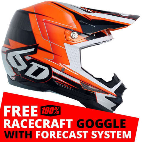 6D Motocross Helmets S - 55-56cm 2018 6D ATR-1 Sonic Motocross MX Helmet - Orange Charcoal