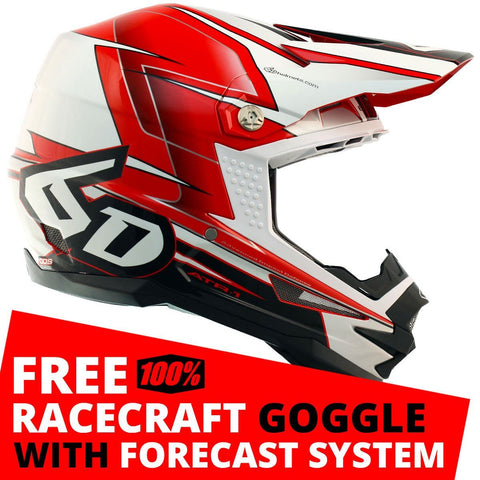 6D Motocross Helmets S - 55-56cm 2018 6D ATR-1 Sonic Motocross MX Helmet - Red White Black